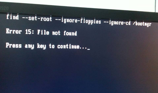 U盘安装系统后出现error 15:file not found错误
